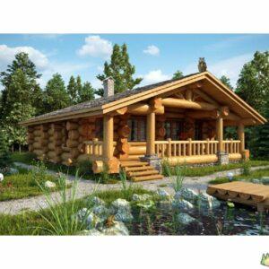 Wandbausatz Naturstammhaus Blockhaus 14