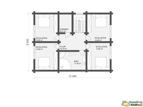 Wandbausatz Blockhaus Coburg 178qm