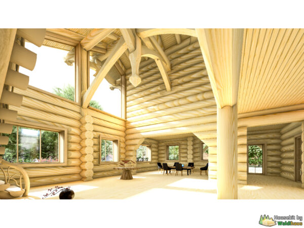 Wandbausatz Naturstammhaus Waldi 209qm