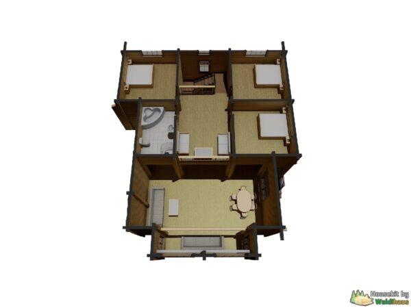 Wandbausatz Holzhaus Syapsya 224qm