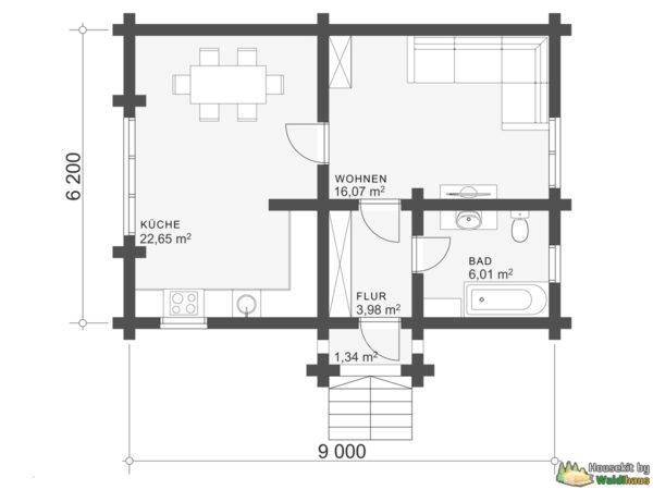 Wandbausatz Blockhaus Leimen 50qm