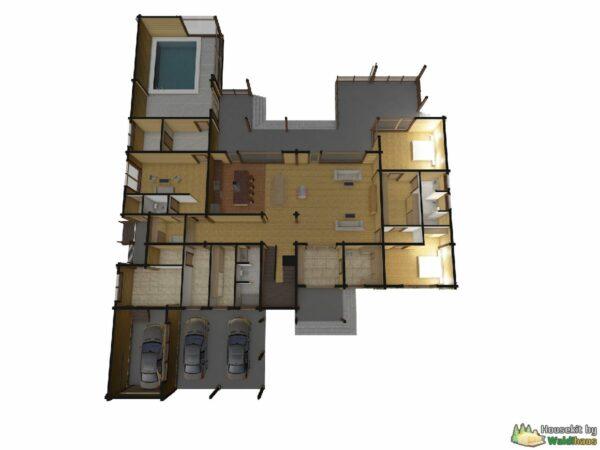 Wandbausatz Holzhaus Wolchow 616qm