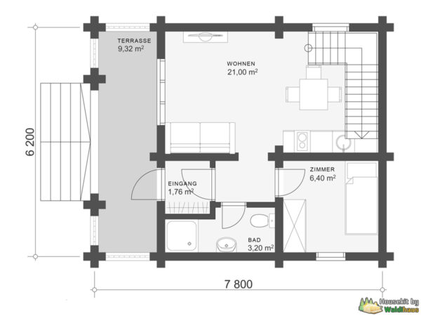 Wandbausatz Blockhaus Kiel 62qm